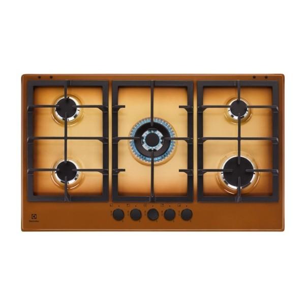 Electrolux KGS9536T Piano Cottura gas 90 cm terra di francia griglie in  ghisa