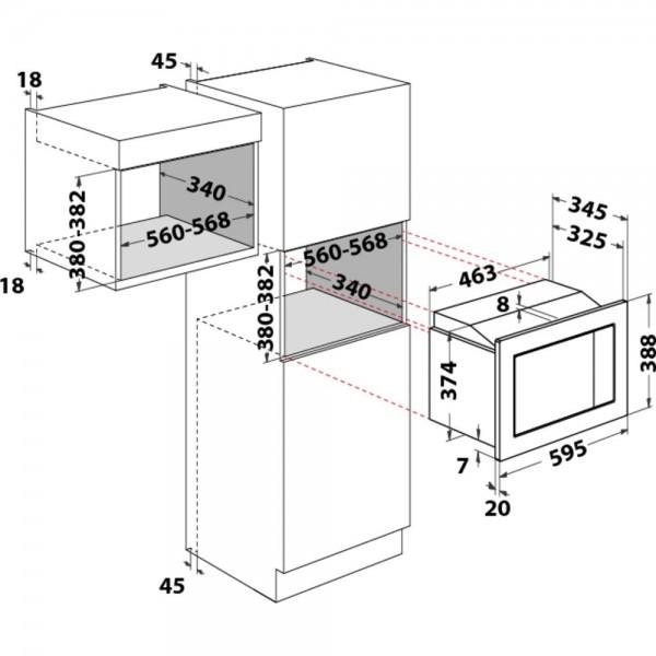 HOTPOINT ARISTON MWHA122.1X FORNO A MICROONDE DA INCASSO 9 PROGRAMMI  20 LT